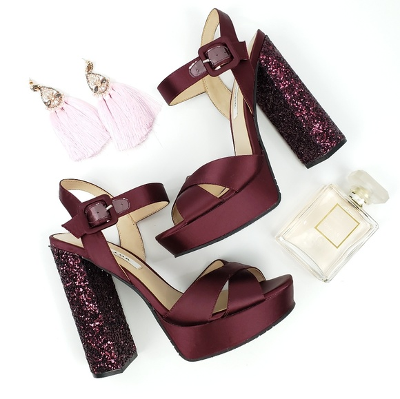 27d7f9bad5b Burgundy Satin Glitter Nina Savita Platform Heels